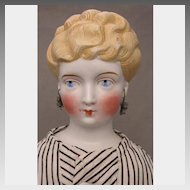 German Parian Bisque Doll with Pierced Ears and Earrings 19 inch