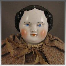 Antique 21 inch Kestner Flat Top China Head Doll in Wool Tweed