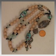 Vintage Long Chinese Stone and Porcelain Bead SP Necklace