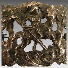 Antique St. George Slaying Dragon Brooch