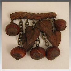 Vintage Carved Wood and Hazel Nut Dangling Brooch