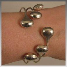 Set of 3 Vintage Sterling Silver Bangle Bracelets with Tear Drop Ends