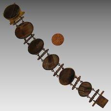 Antique Victorian Agate Panels Bracelet 8 inch