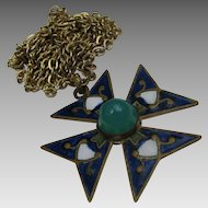 "Antique Enameled Maltese Cross Pendant on 40"" Necklace Chain"