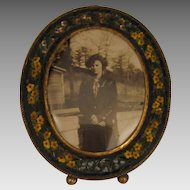 1920s Vintage MIcro Mosaic Miniature Picture Frame with Lady