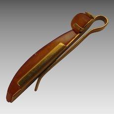 Mid Century Modern Mans Amber 9K Tie Clip