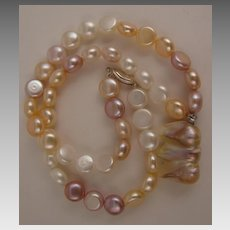 17 inch Variegated White, Pink & Mauve Fresh Water Pearl Necklace with Baroque Pearl Drop