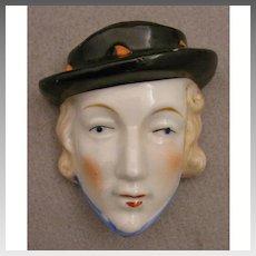 Art Deco Flapper Lady Head China Match Wall Pocket