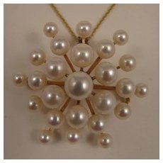 Vintage 14K Cultured Pearl Galaxy Brooch Pendant and Necklace Chain - Red Tag Sale Item