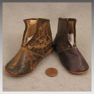 Antique Brown Leather Shoes for Large Doll