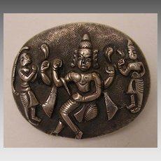 Sterling Silver c.1860s British Raj India Shiva Locket Brooch