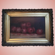 Gorgeous Antique Apples Still Life Oil Painting Signed