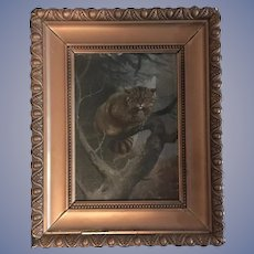 Antique Oil Painting European Wild Cat, Olsen 1906