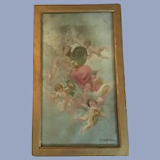 John Califano (1864-1946) Antique Cherubs Oil Painting