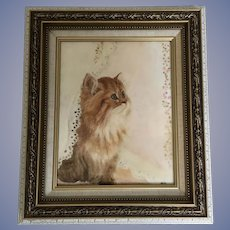 Hand Painted Porcelain Plaque of a Cat Art Painting