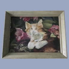 Vintage Calico Cat Oil Painting Signed NK Richardson '60