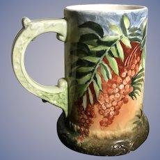 Antique American Belleek Hand Painted Tankard Mug