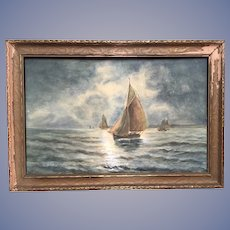Antique Seascape Ships at Sea Watercolor Painting Signed