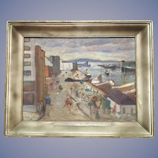 Mid Century Seaside Town Oil Painting Signed 49