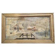 Antique Snow Scene Oil Painting