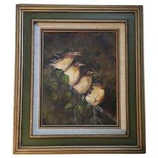 Birds Oil Painting Myra Green '75