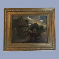 Antique Oil Painting Cows Signed