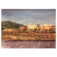 Antique French Cows Oil Painting Signed #1