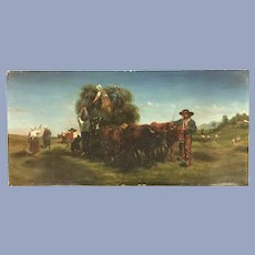 Antique French Cows Oil Painting Signed #2