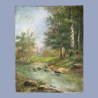 Gorgeous Antique River Landscape Oil Painting