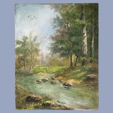 Gorgeous Antique River Landscape Oil Painting