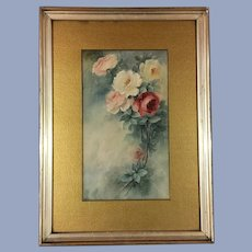 Gorgeous Antique Roses Watercolor Painting Signed