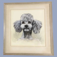 Fantastic Vintage Poodle Dog Watercolor Painting Signed Remy