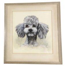 Fantastic Vintage Poodle Dog Watercolor Painting Signed Remy