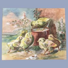 Vintage Baby Chicks Watercolor Painting Signed Gerhard
