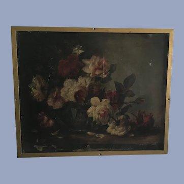 Antique Jules Toulot 1883 Floral Oil Painting