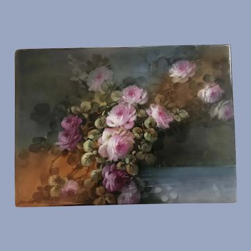 Gorgeous Large Antique French Limoges Roses Plaque