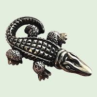 Vintage Sterling Silver Alligator Pin Brooch Pendant