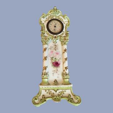 Gorgeous Antique French Limoges Clock T&V Roses