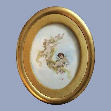 Antique French Limoges Plaque Cherubs
