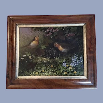 Antique 19th Century Birds and Nest Oil Painting
