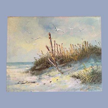 Mid Century Beach Oil Painting S. Weatherman