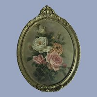Antique Roses Oil Painting Gorgeous Frame