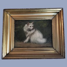 Early 20th Century Persian Cat Oil Painting Hungarian School Deszo Sziklai