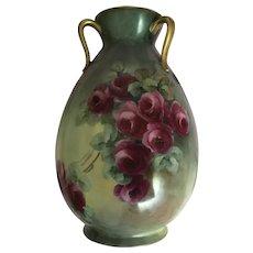 Pretty Haviland Limoges Porcelain Vase Roses 3 Handles