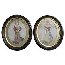 Vintage Pair Needlepoints Boy With Dog, Girl With Cat