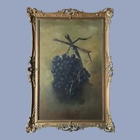 Antique Grapes Oil Painting In Gorgeous Gesso Frame
