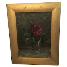 Antique Rose Oil Painting In Gold Frame