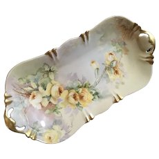 Lovely Antique Limoges Bread Dish Theo Haviland Yellow Roses