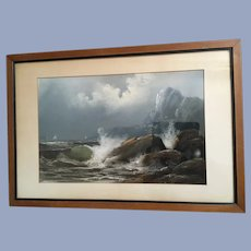 Vintage Seascape Painting Signed Chandler