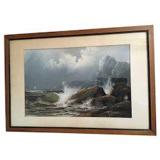 Vintage Seascape Painting Signed Chandler